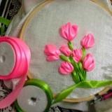 Шелковые тюльпаны: вышивка лентами